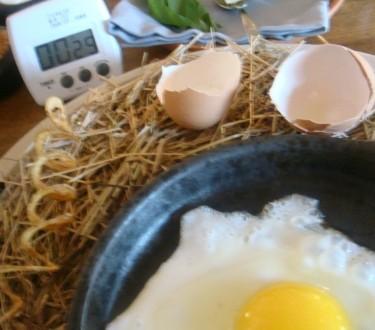 Osmo jelo: Kokoška i jaje - gost posluže toplu tavu sa začinima i maslacem, pa si gost sam speče jaje od patke