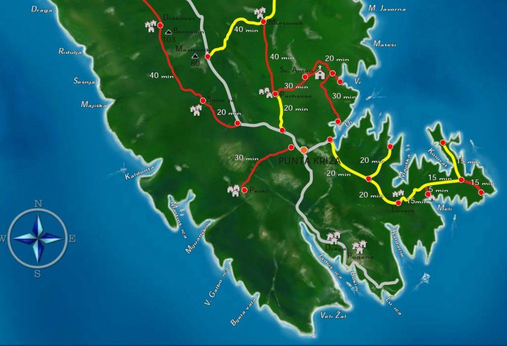 PLAN PLOVIDBE: Sedmodnevno krstarenje jedrilicom po Kvarnerskim otocima 7. Sve uvale Punta krize TZ Mali Losinj